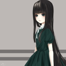 [Black hair & Green eyes]